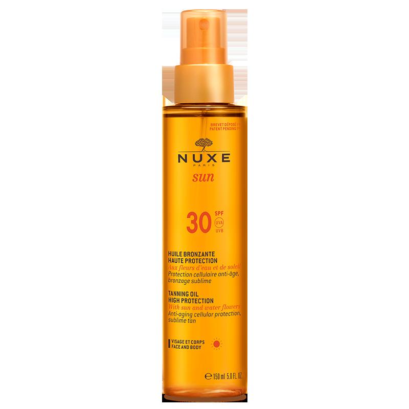 nuxe sun huile bronzante haute protection spf30